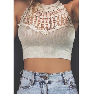 Tops - Knit Halter Crop Top